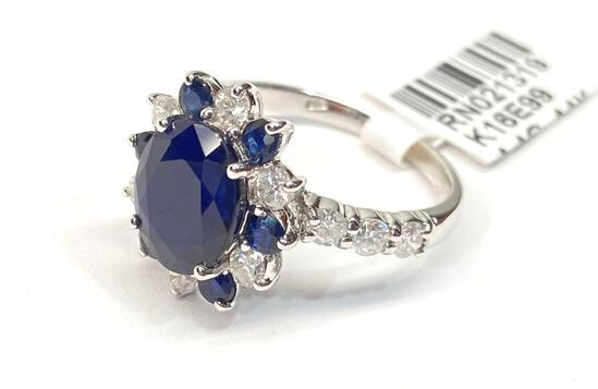 4.06ct Sapphires, 0.93cts Diamonds, 14K White Gold Ring, Size 7, Certified & Graded by AIG