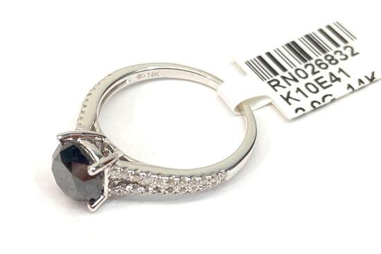 14K White Gold Ring w/ 2.29ct Diamonds, Size 7, Certified & Graded by AIGL