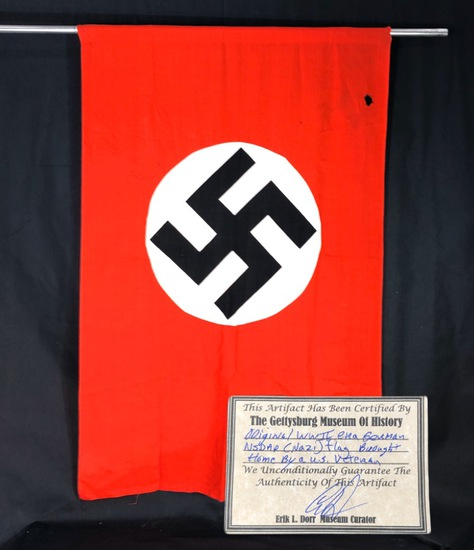 WWII Nazi Flag Authenticated by Gettysburg Museum of History, w/ CoA