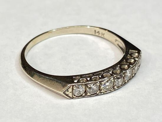 14K White Gold Diamond Ring, Size 10