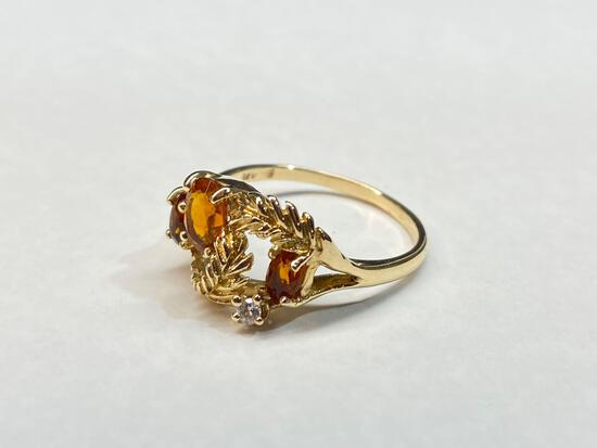 14K Gold Ring with Diamond Gemstone, Size 10