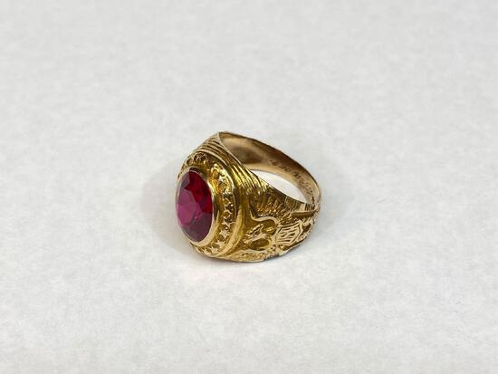 10K Gold Ring with Large Spinel Gemstone, Size 9