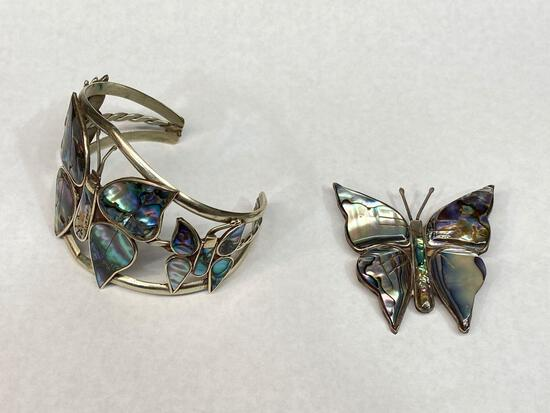 925 Silver and Abalone Bracelet and Pin