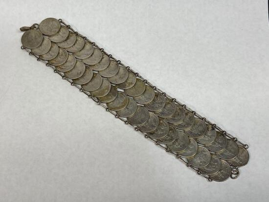 Bracelet made from Guatemalan 1800s Silver Coins
