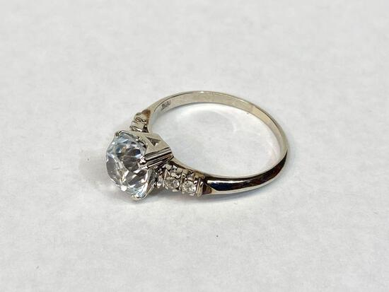 10K White Gold Engagement Ring, Size 8