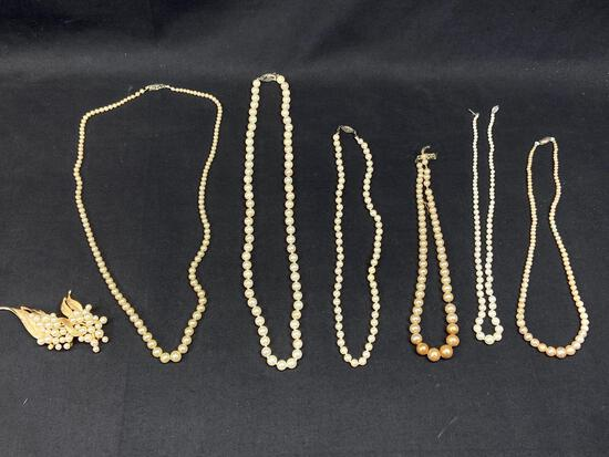Costume Pearl Jewelry, Necklaces, Pin, 7 Units
