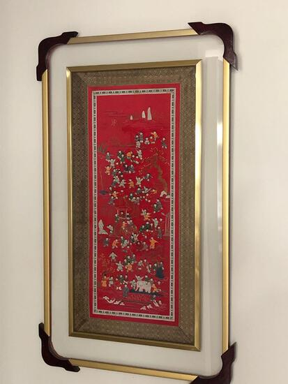 Japanese Framed Fabric Wall Art