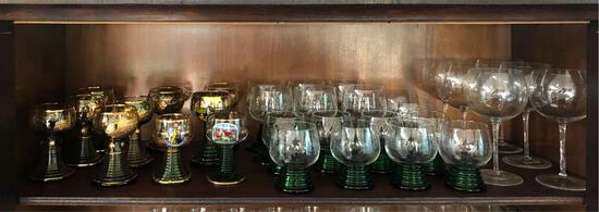 Shelf Contents, German Drinking Glasses, Wine Glasses