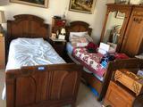 Antique Solid Oak German Bed Frames