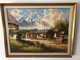 Signed and Framed Village Oil Painting
