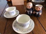 Wedgwood Bone China Teacups & Saucer, Goebel Cream & Sugar Set