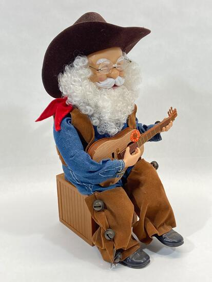 Singing Cowboy Santa Claus Animatronic Music Box