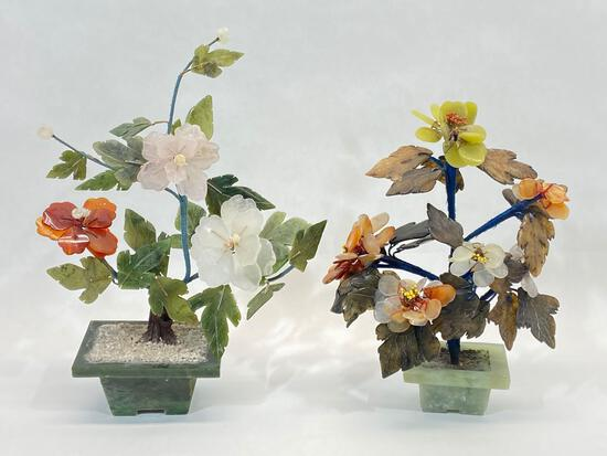 Glass Flower Sculptures, 2 Units