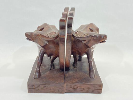 Carved Wood Water Buffalo Bookend Sculptures, 2 Units