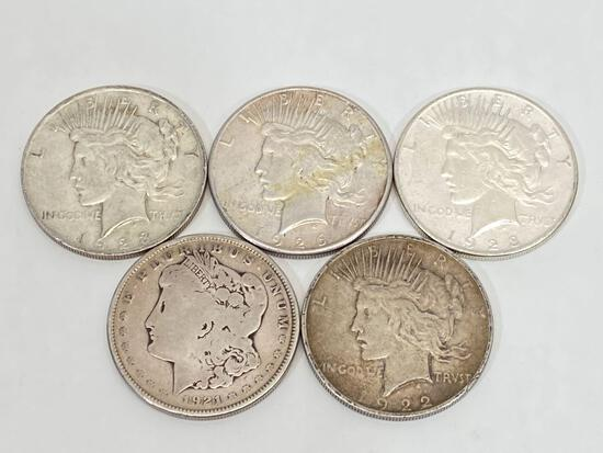 5 United States Silver Dollar Coins, 1921, 1922, 1923, 1926, 1928