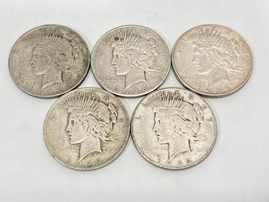 5 United States Silver Peace Dollar Coins, 1922, 1923, 1926, 1928