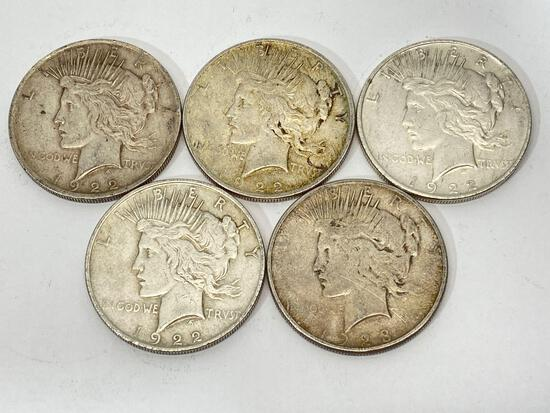 5 United States Silver Peace Dollar Coins 1922 & 1923