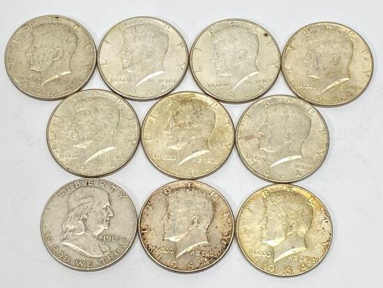 10 United States Silver Half Dollar Coins 1961 & 1964