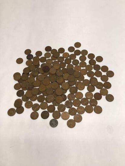 160 Wheat Pennies 1 Steel Penny