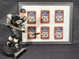 Limited Edition Wayne Gretzky Figurine 346/1851, & Framed WHL Patches