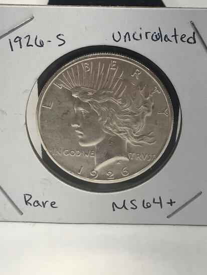 1926-S Uncirculated Rare MS64+ Peace Dollar