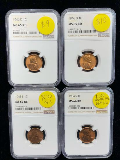 NGC Certified Penny Lot of Four - Two MS65 Two MS66