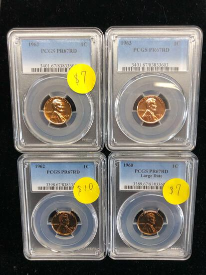 PCGS Certified Penny Lot of Four - All Proof 67