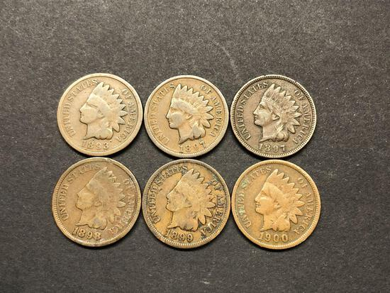 1893, 1897, 1898, 1899, 1900 One Cent Coins