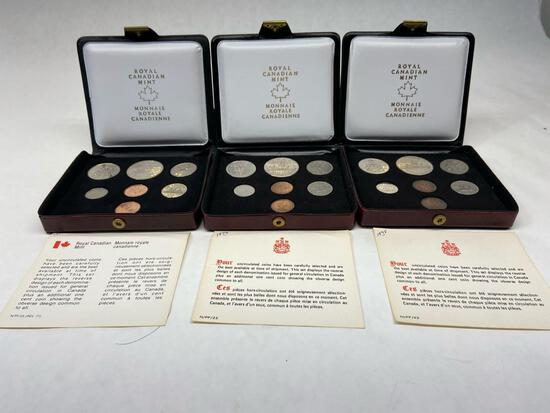 1975-1977 Royal Canadian Mint Coins Set of 3