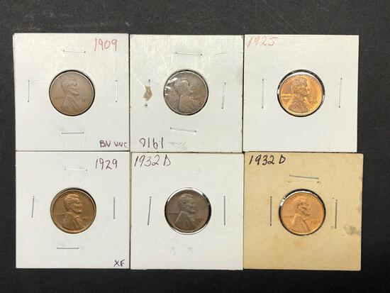 Lot of 6 Pennies from 1909-1932