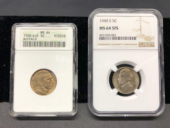 2 Coins, 1938-D Buffalo Nickel ANACS MS64 & 1954-S Jefferson Nickel NGC MS66