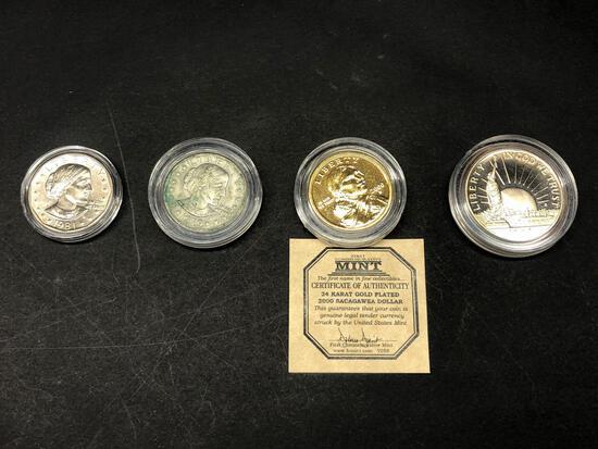 4 Coins, 1981 Dollar, 1979 Dollar, 24K Plated Sacagawea Dollar, 1986 Half Dollar