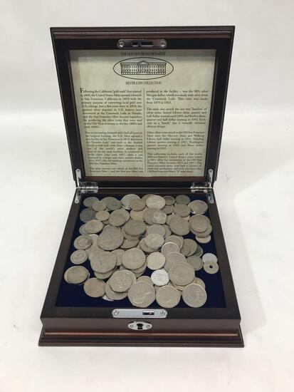 Foreign Coin Collection In Wood Box