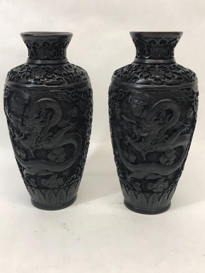 Asian Dragon Carved Vase 2 Units