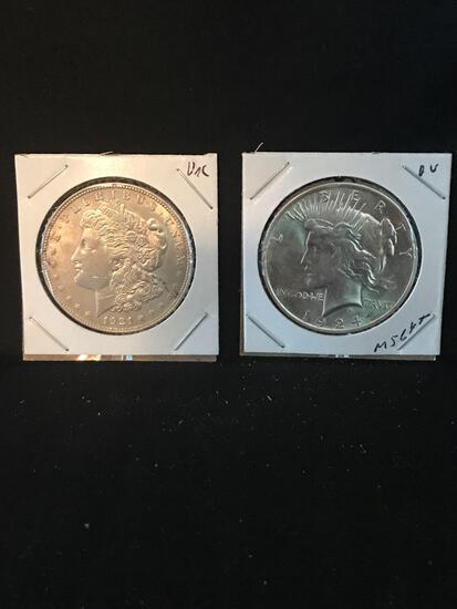1921 Morgan 1924 Peace Silver Dollar 2 Units