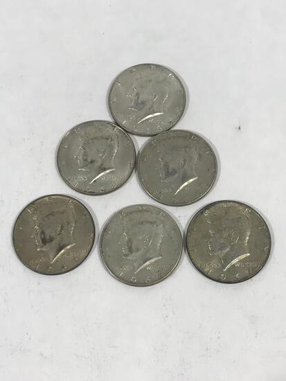 1960s Kennedy Half Dollar Coins 6 Units