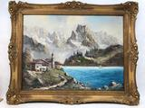 Vintage Framed Painting On Canvas Lake Shore