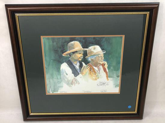Dad & Me, Signed & Framed Buck Taylor Watercolor Painting