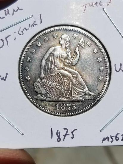 1875 Seated Liberty Half Dollar Rare Coin