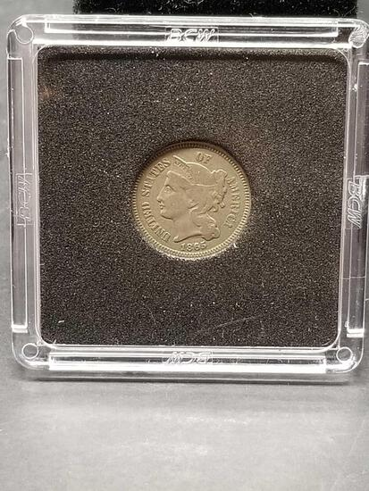 1865 Three Cent Piece Coin
