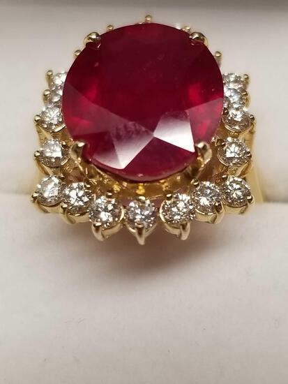 14k Gold Ruby Diamond Ring Size 7 AIGL Certified