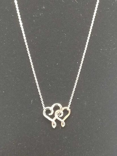 Single Diamond Two Tone Heart Necklace
