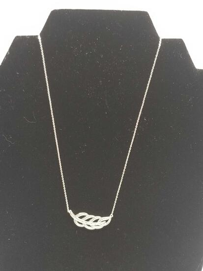 Single Diamond Leaf Ornate Necklace
