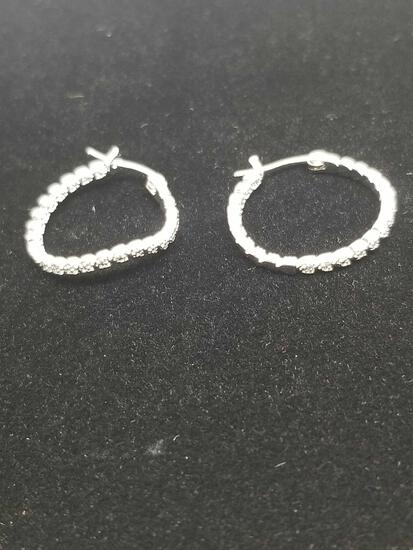 Classic Single Diamond Hoop Earrings