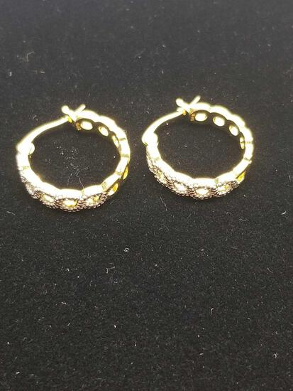 Infinity Diamond Hoop Earrings Yellow Gold Overlay