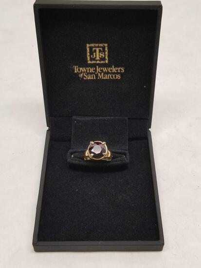 14k Gold Ring Ruby Gem Stone Size 5