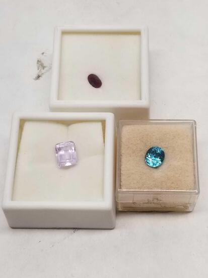 Fine Gemstones 3 Units Topaz Amethyst Jadeite