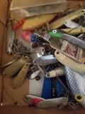 Box Full of Vintage Fishing Lures Hooks