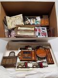 Box Full of Wood Dollhouse Furniture