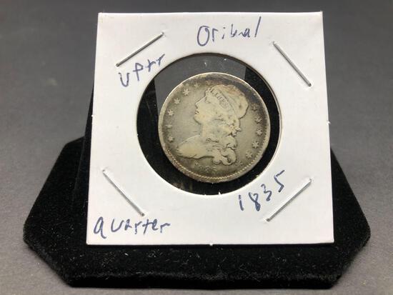 Bust Quarter 1835 Extremely Rare Better Grade Original Estate Find
